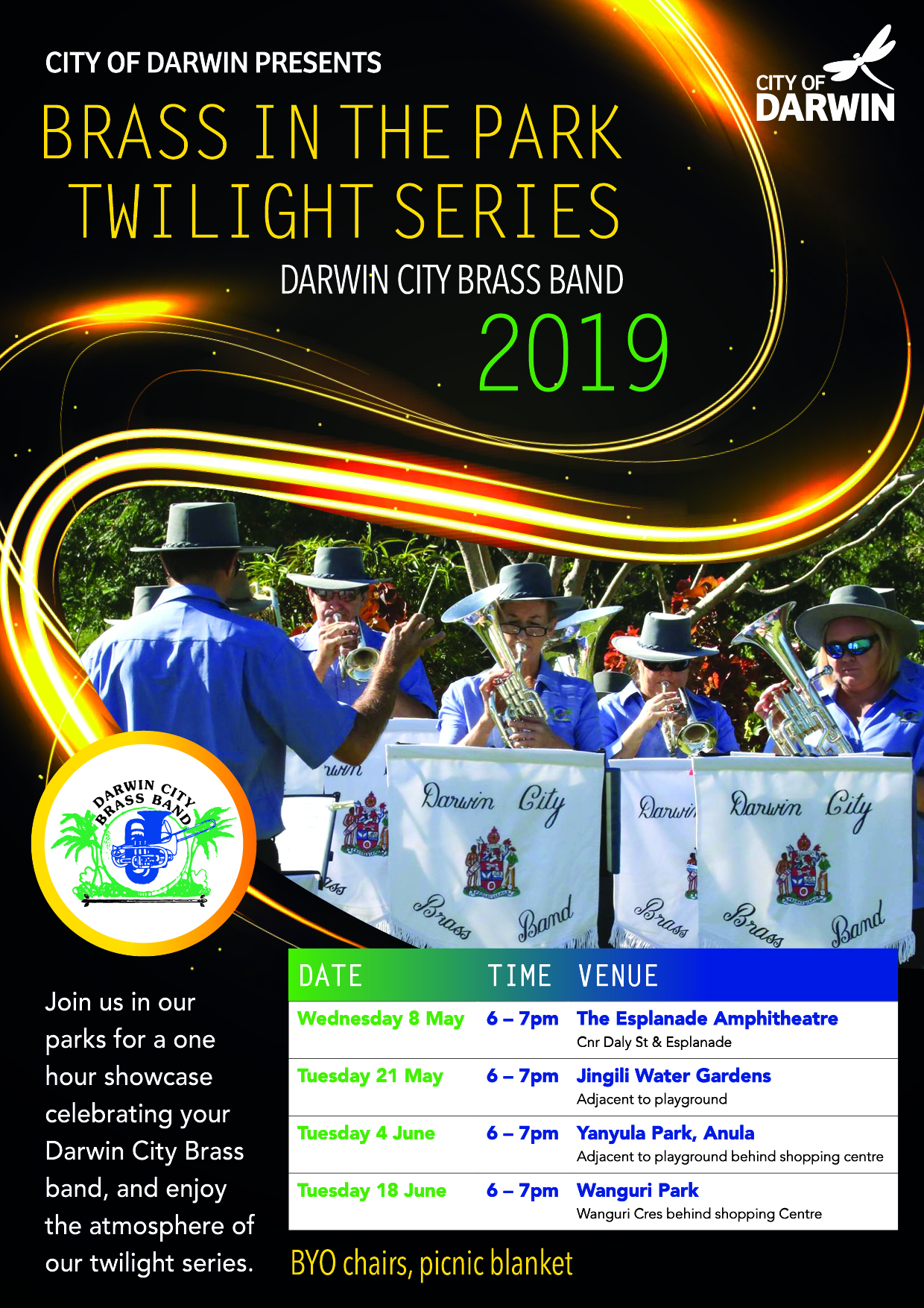 darwin brass band twilight series a4 flyer 2019